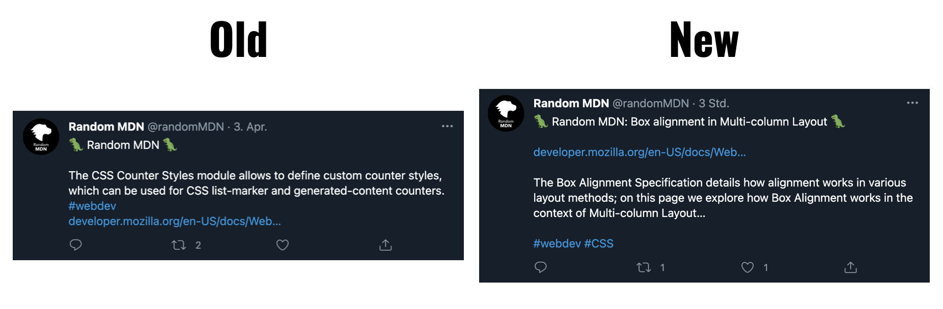 Comparison of old and new RandomMDN Tweet format