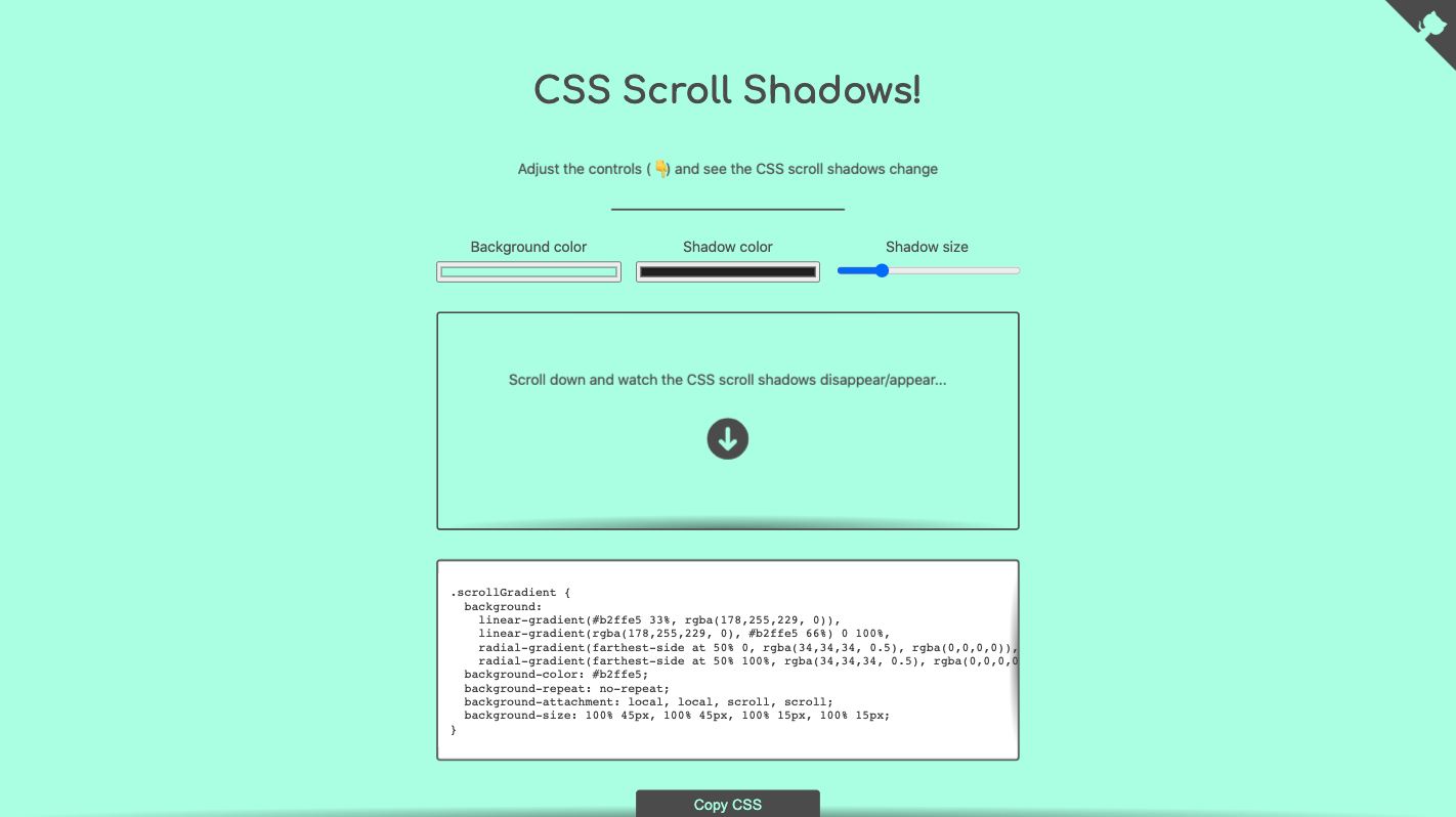 CSS Scroll shadows