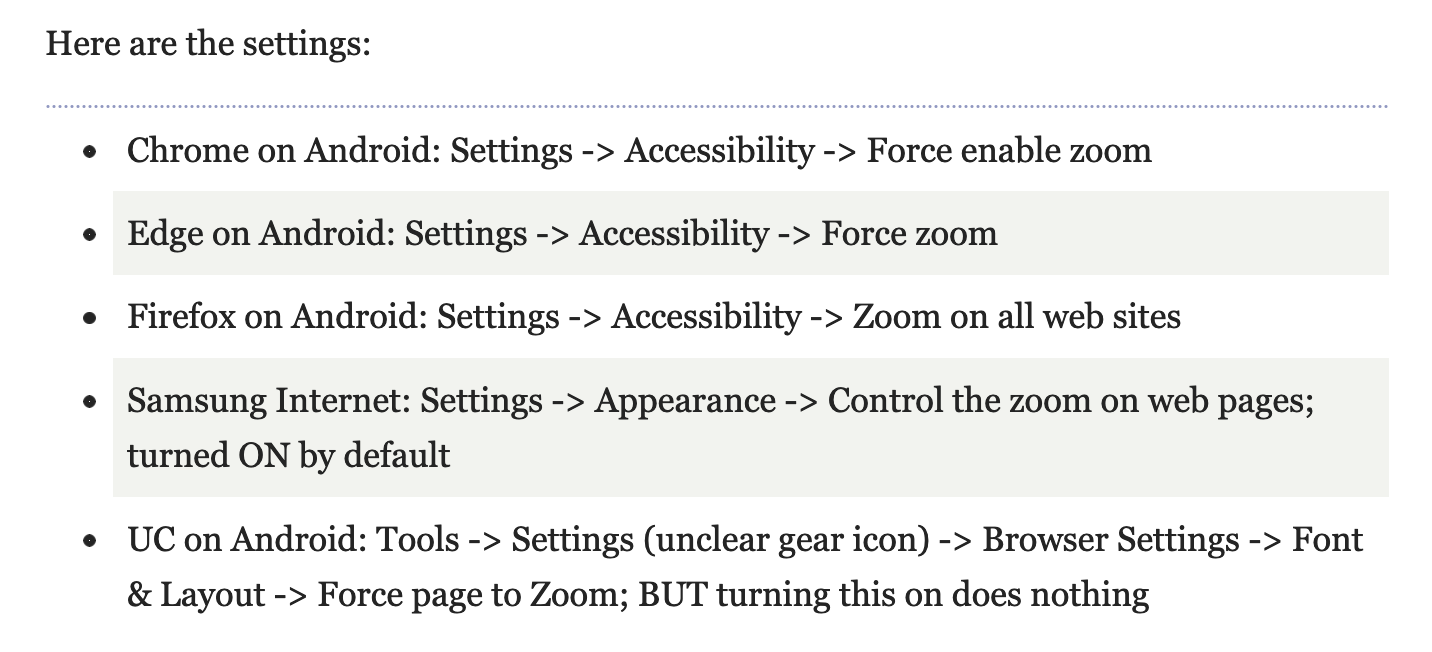 Table showing how to enable and force zooming in several browsers