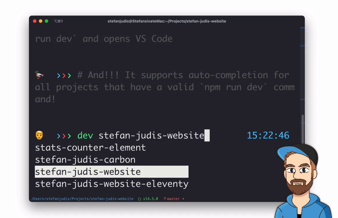 dev command with auto-completion