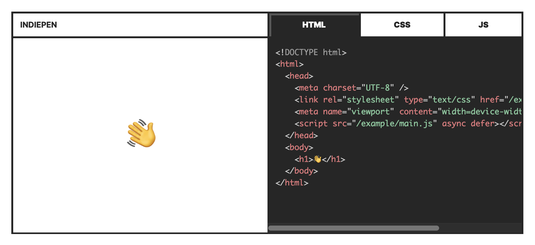 Indiepen code editor that looks similar to codepen