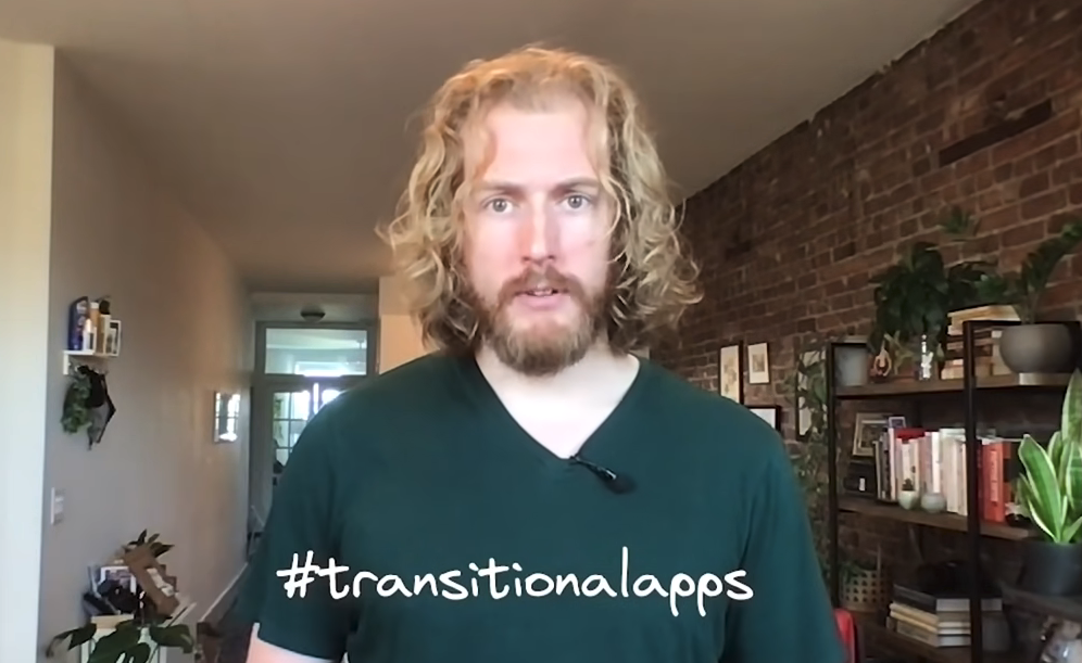 """Rich Harris promiting the hashtag """"transitionapps"""""""