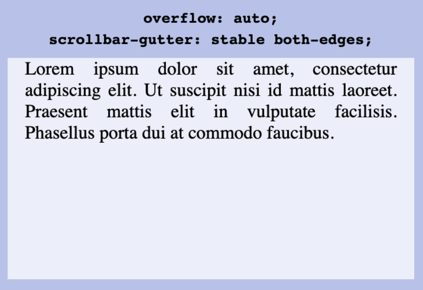 Example showing the behavior of `scrollbar-gutter: stable both-edges` which leads to content margins left and right.