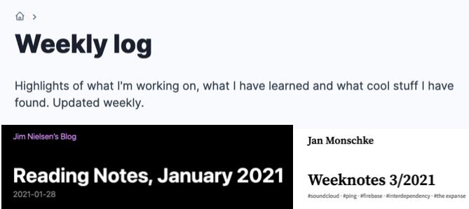 Screenshots of weekly logs