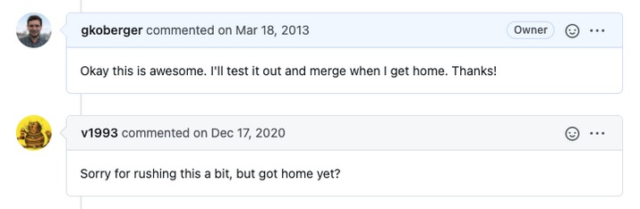 GitHub conversation where a person asks for an update seven years later