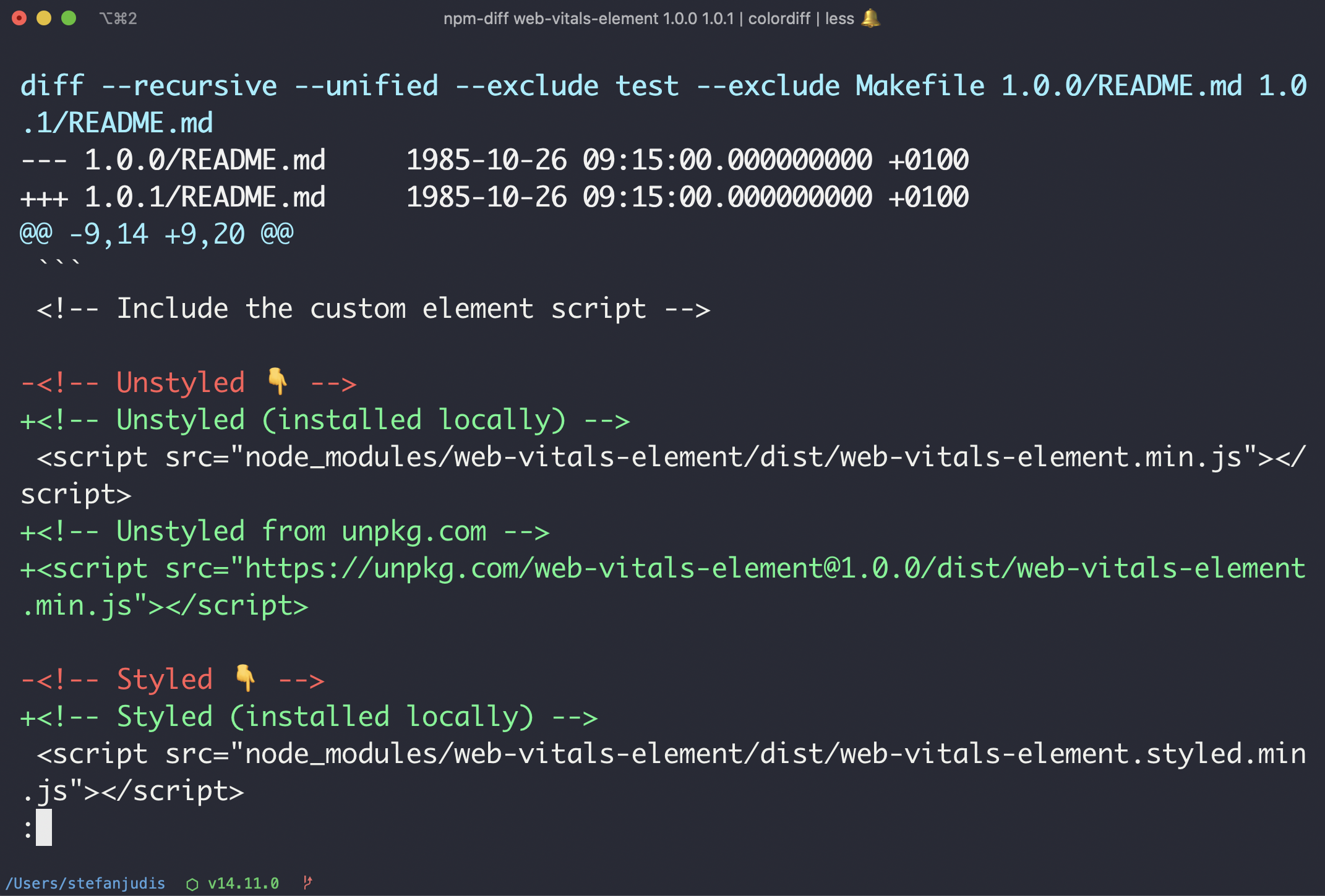 CLI output of color npm-diff command using colordiff