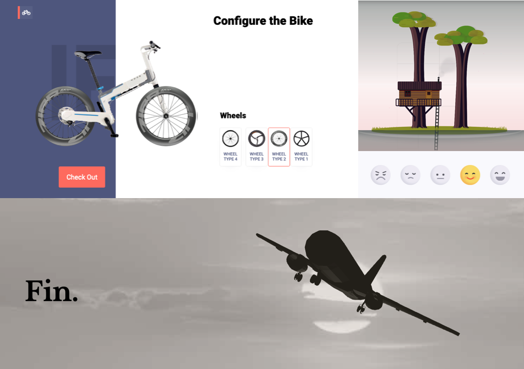 CodePen Highlights showing a bike, a tree house, some fun radio buttons and an airplane