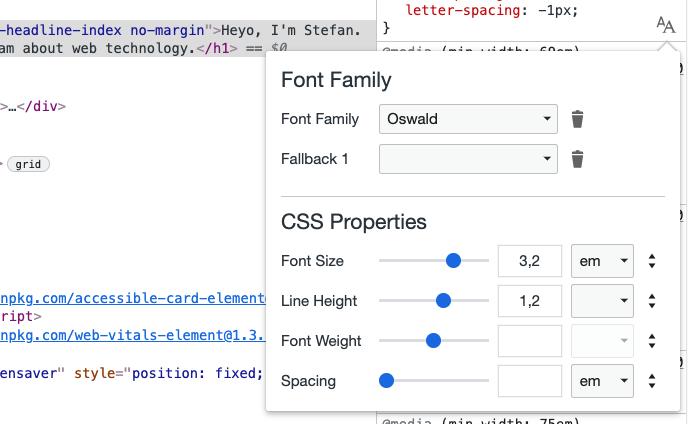 CSS font controls in Chrome DevTools
