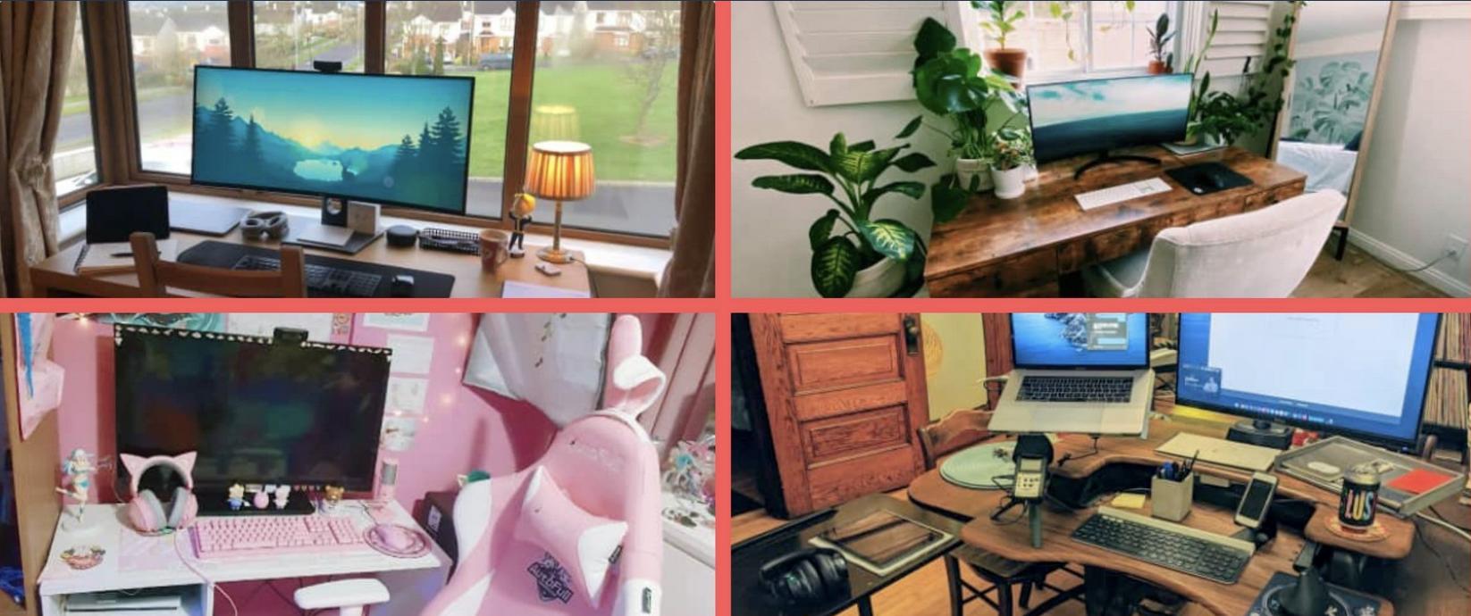 Four different office setups and desks