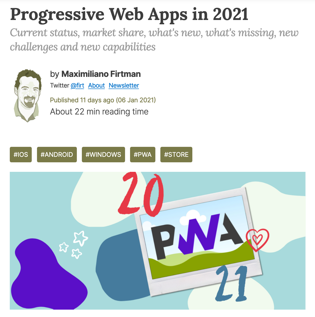 """Screenshot of """"Progressive Web Apps in 2021"""" article showing the headline and author (Maximiliano Firtman)"""