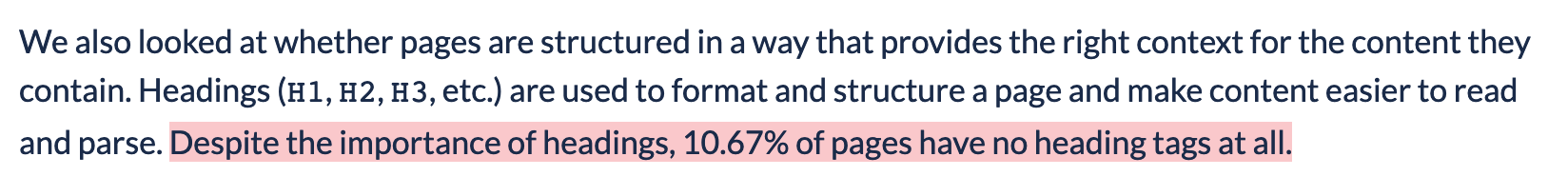 Paragraph of the article with highlighted text: Despite the importance of headings, 10.67% of pages have no heading tags at all.