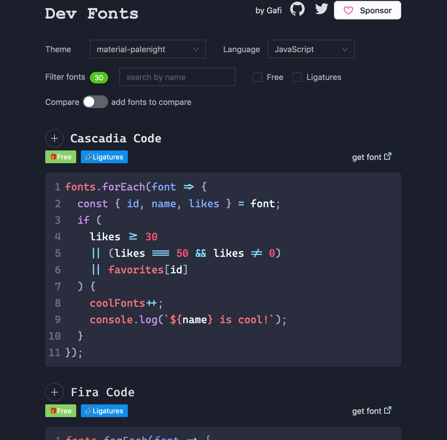 Dev fonts showing font previews