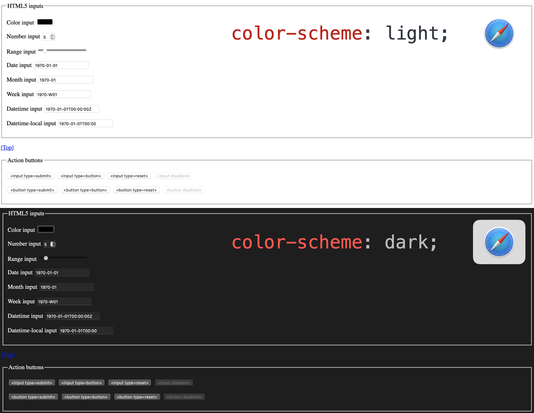 UI elements in Safari that are adjusting to color-scheme: dark