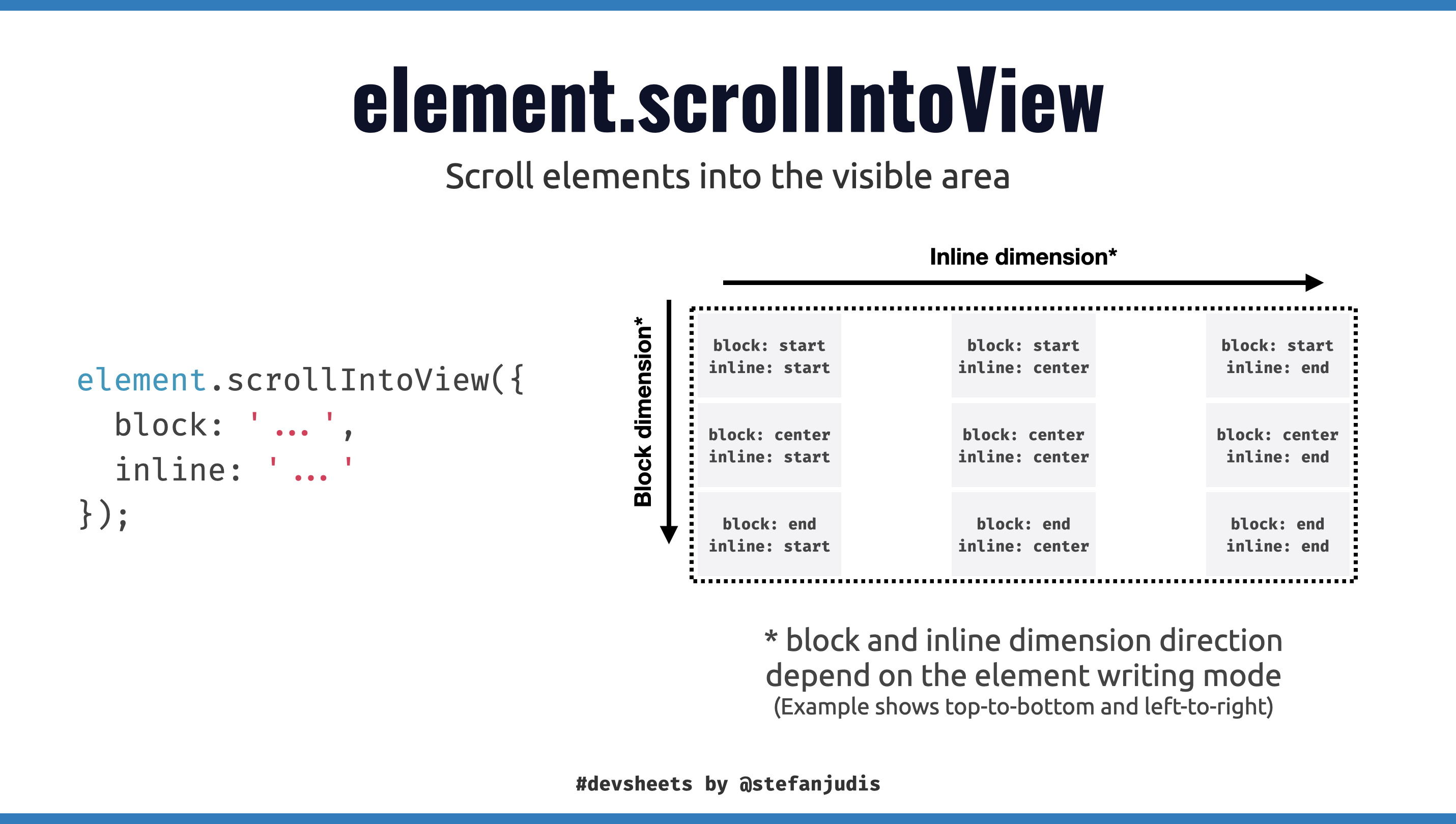 Scroll into view devsheets