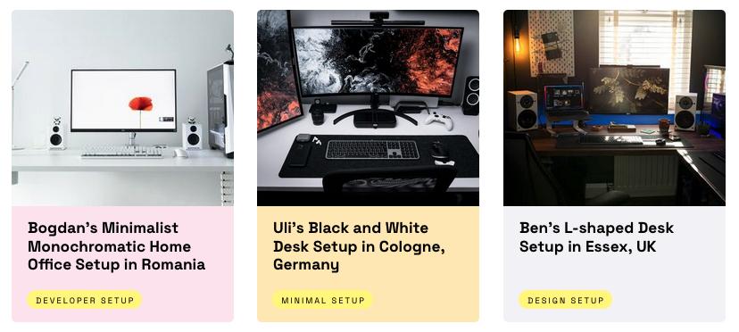 Three screenshots of peoples desks