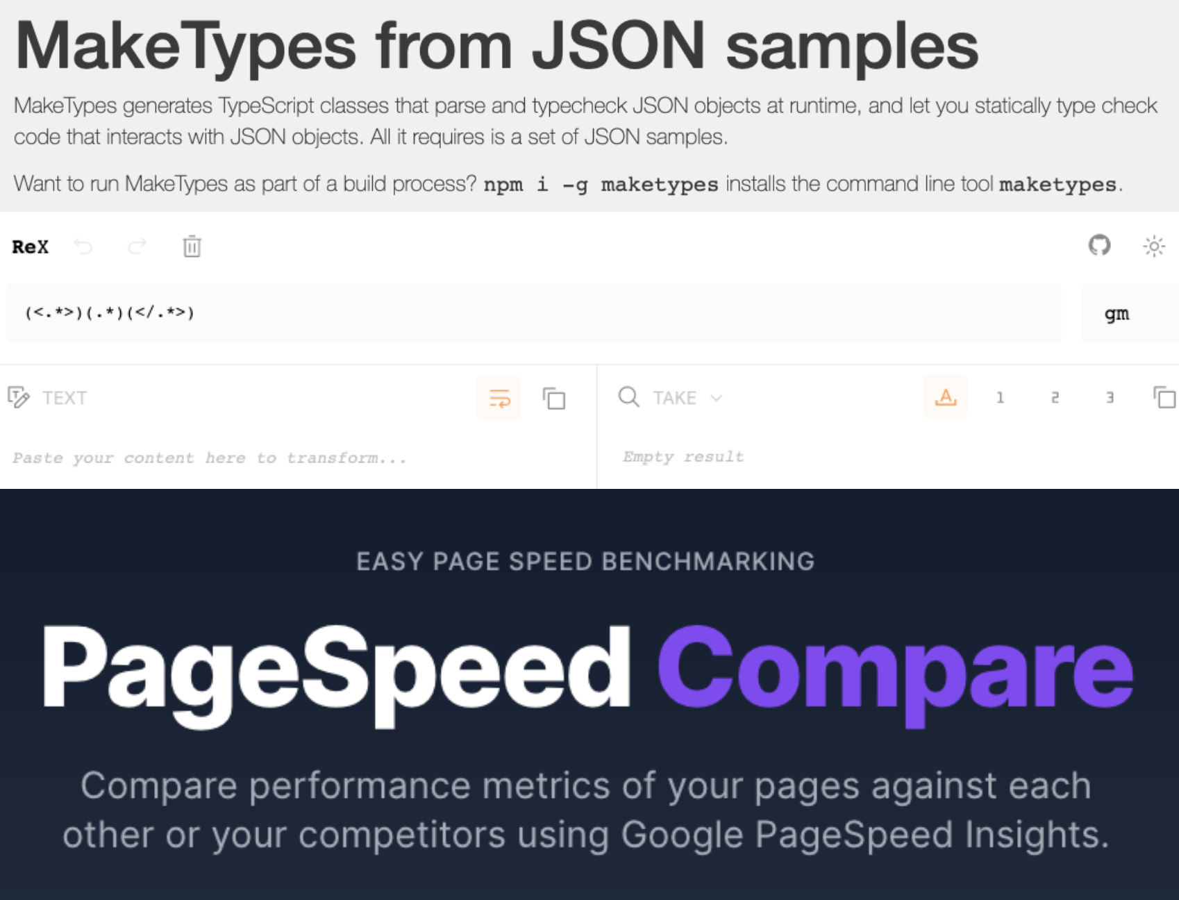 Screenshots of MakeTypes, ReX and Pagespeed compare