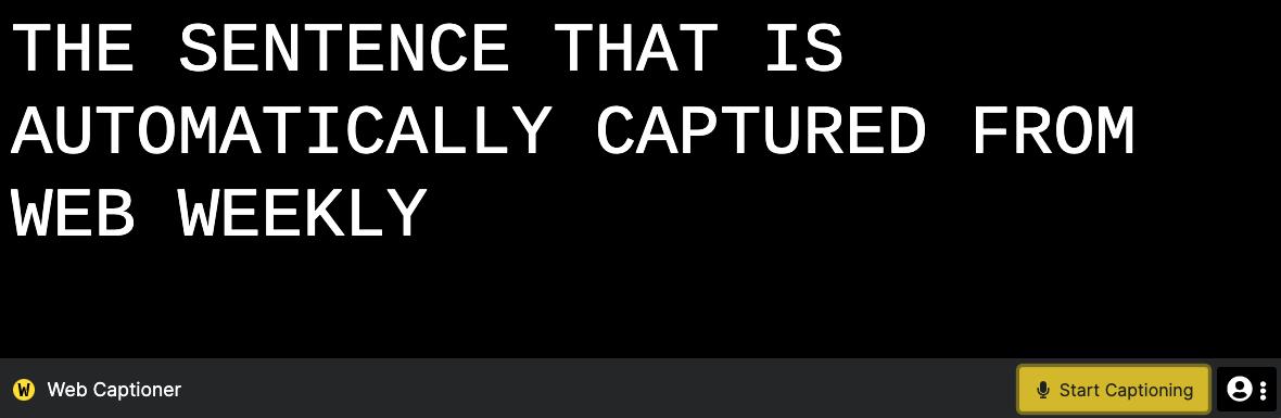 webcaptioner.com showing an example sentence
