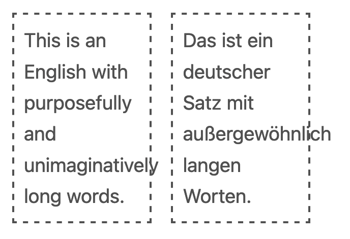 Two text containers with long words flowing out of their containers.