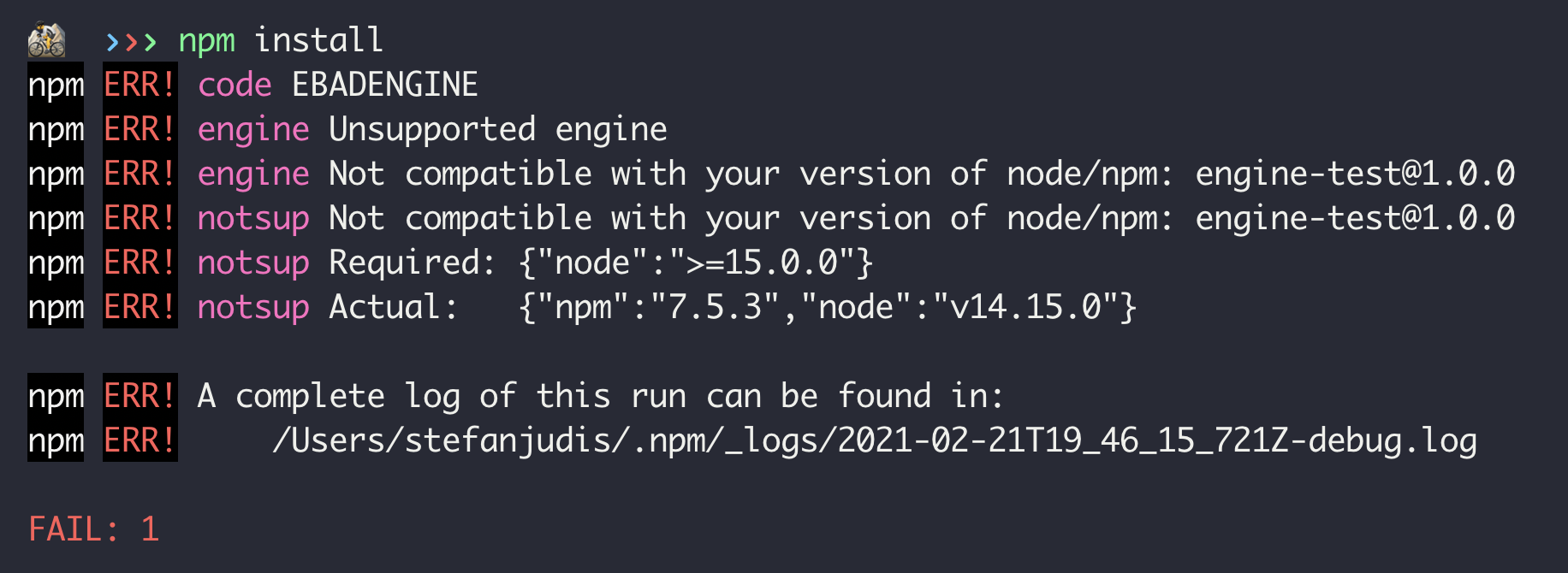 A cli log of a failed npm install due to Node.js version mismatch