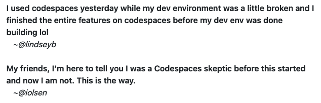 Two quotes about code spaces: 1. I used codespaces yesterday while my dev environment was a little broken and I finished the entire features on codespaces before my dev env was done building lol. 2.  My friends, I'm here to tell you I was a Codespaces skeptic before this started and now I am not. This is the way.
