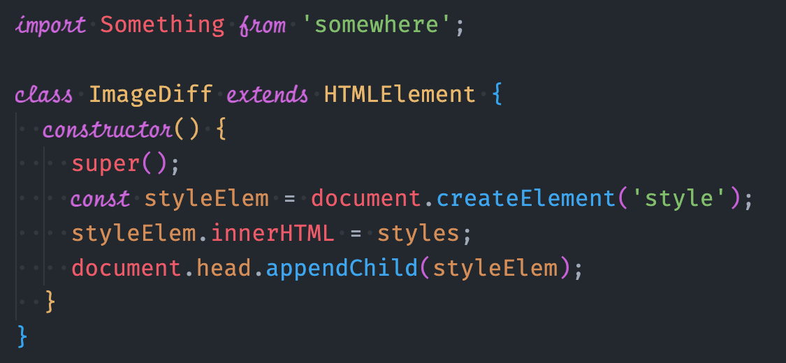 Code editor with fancy italics