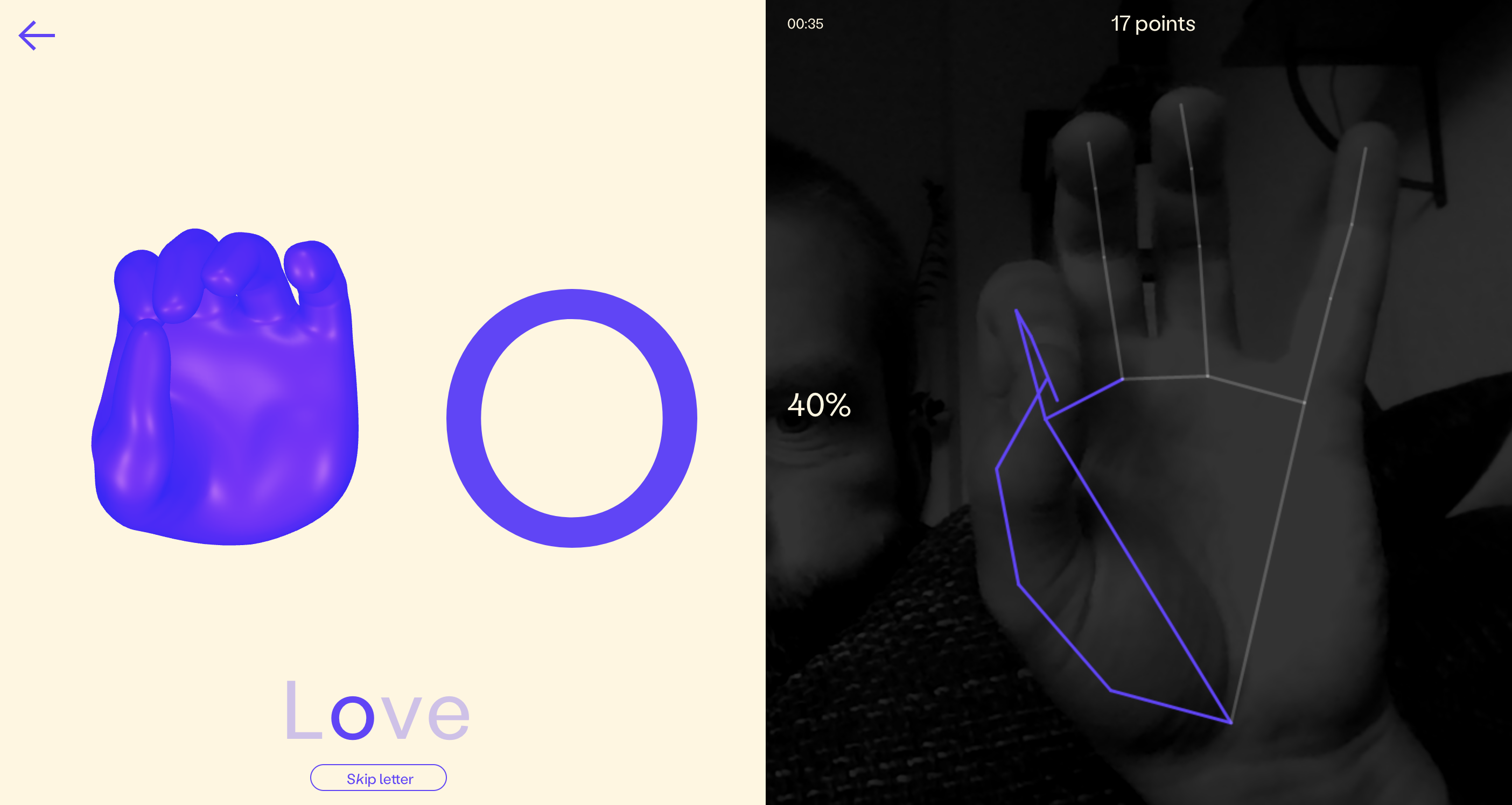 """Screenshot of fingerspelling.xyz/game showing the """"o"""" letter and a """"hand analyzer"""""""