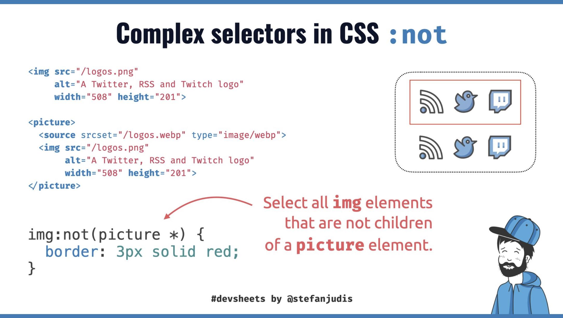 DevSheet explaining complex selectors in CSS not