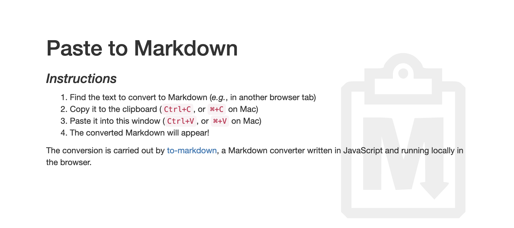 Instruction to convert pasted text to markdown