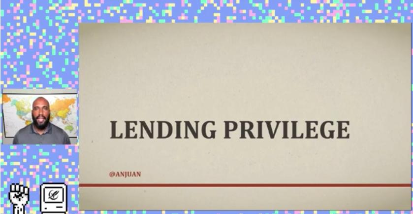 """Cover slide of the talk """"Lending privilige"""""""