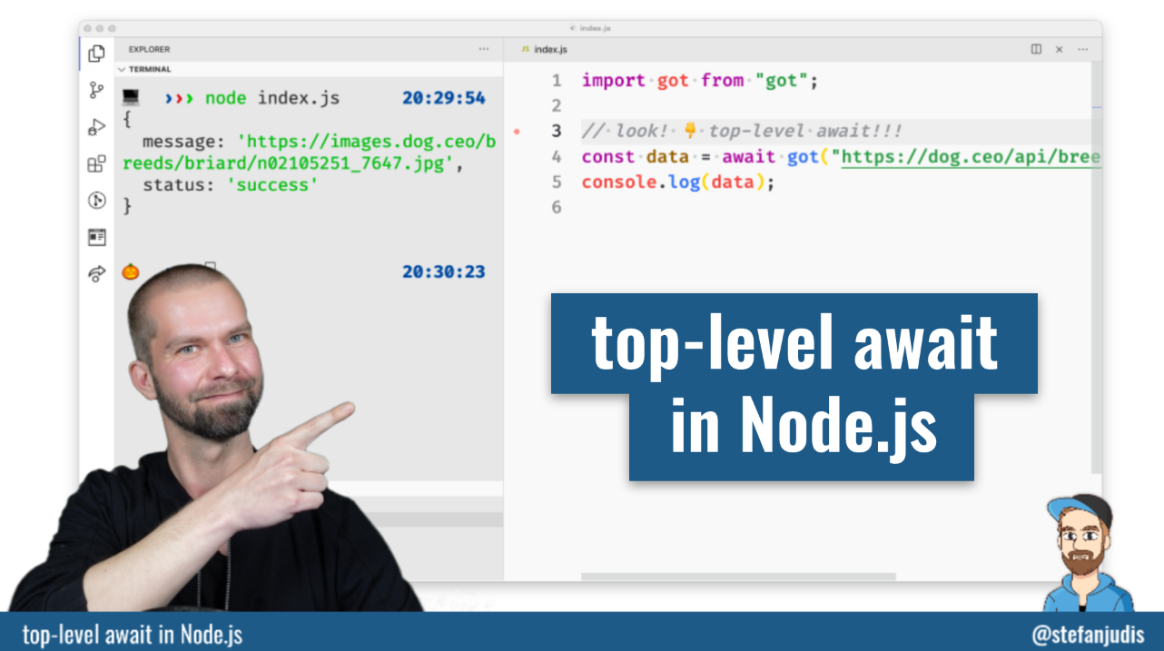 How to use top-level await in Node.js