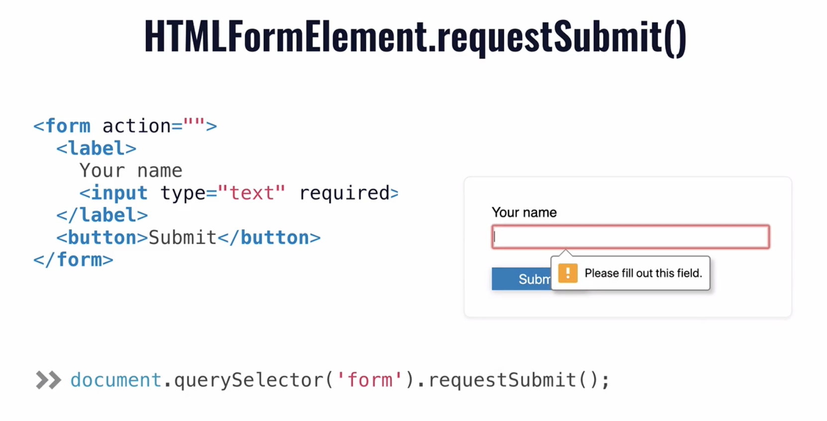 DevSheet showing that calling `requestSubmit` triggers a form validation