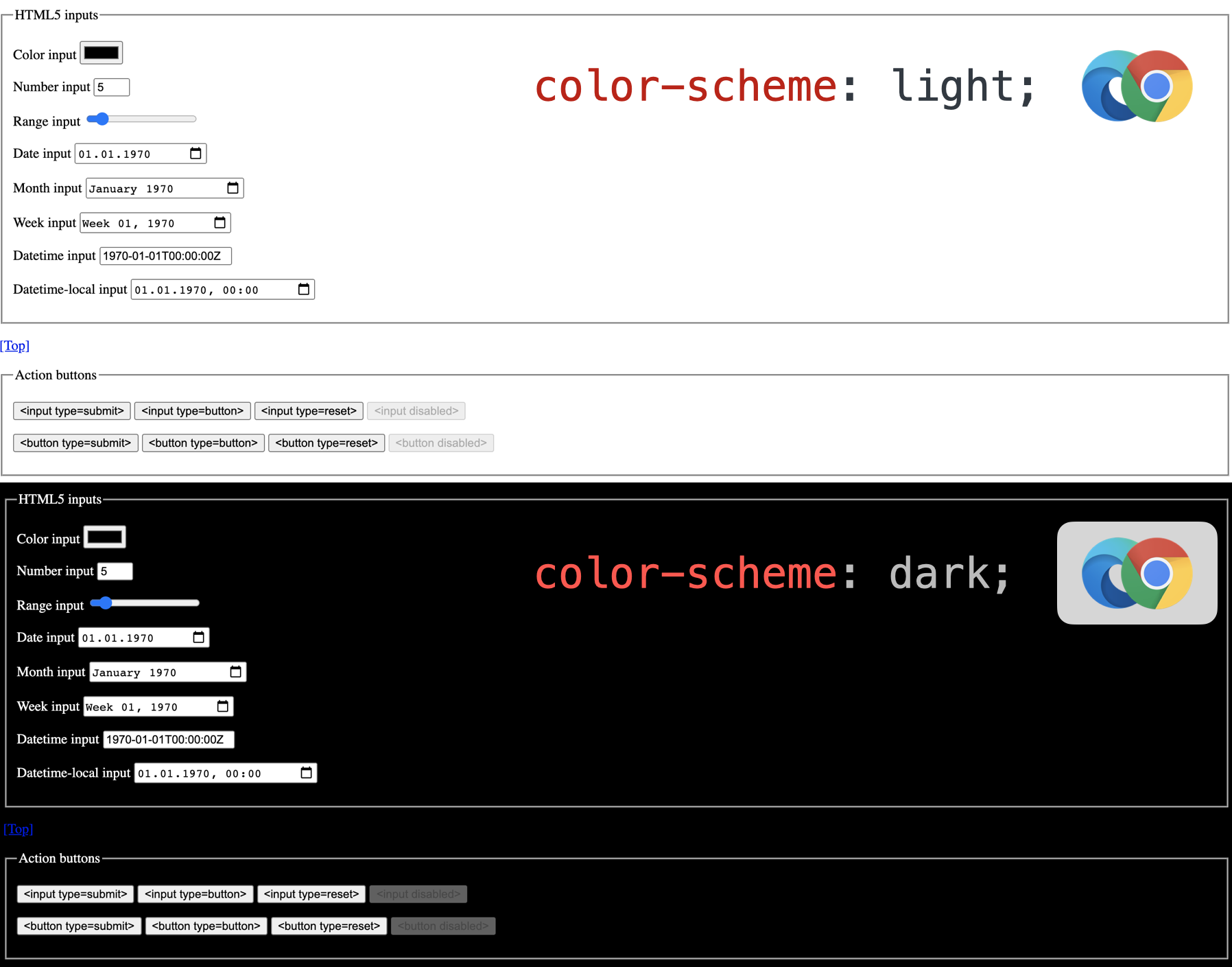 Chrome UI elements not responding to color-scheme: dark