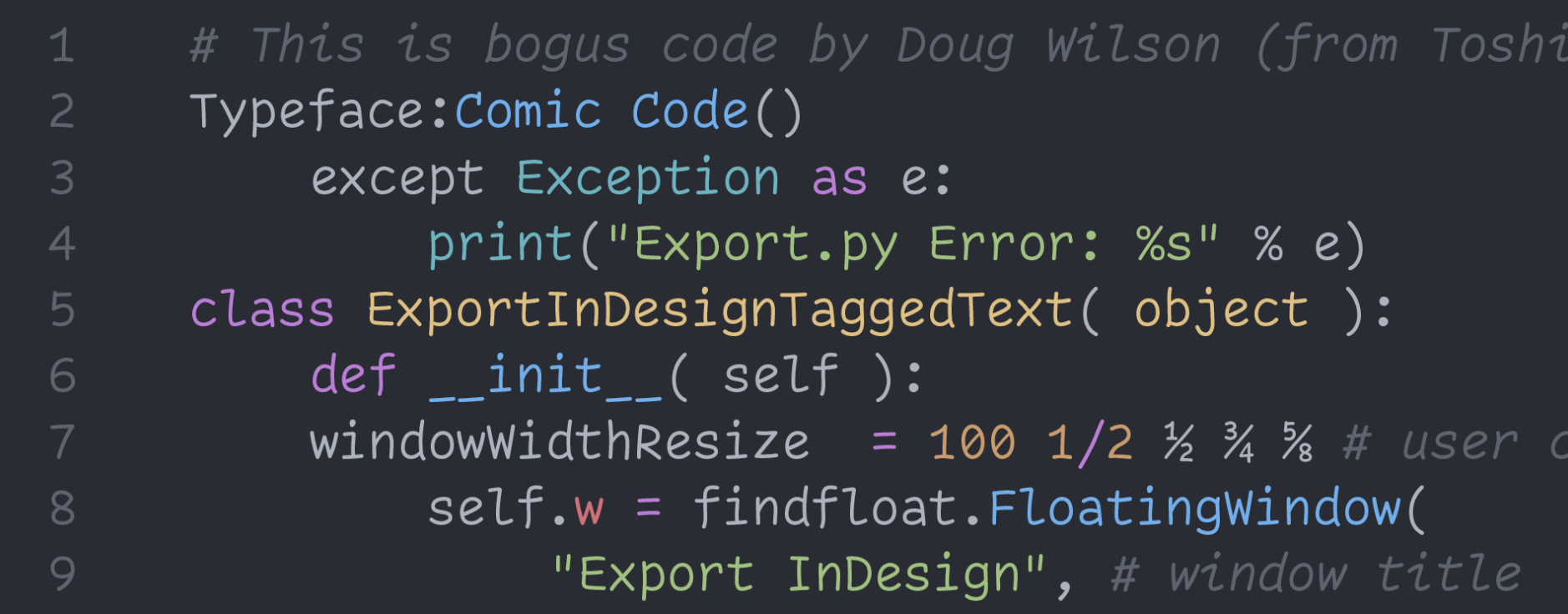 Coding font looking like Comic Sans
