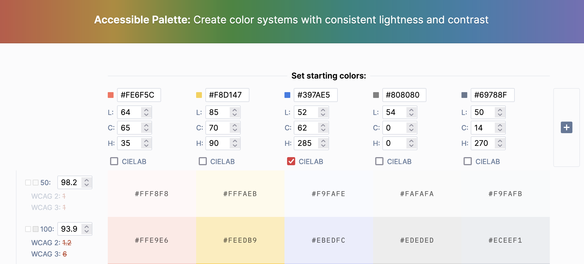 Accessible color palette showing many colors and controls.