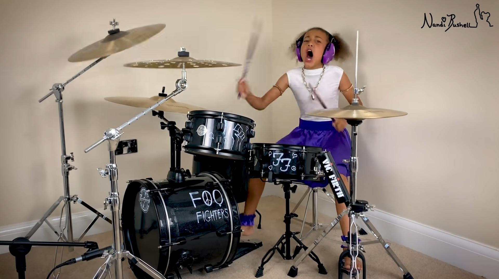 Nandi Burshell on the drums