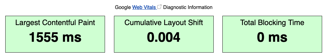 """Web Vitals on WebPageTest showing """"Largest Contentful paint"""", """"Cumulative Layout Shift"""" and """"Total Blocking Time"""""""