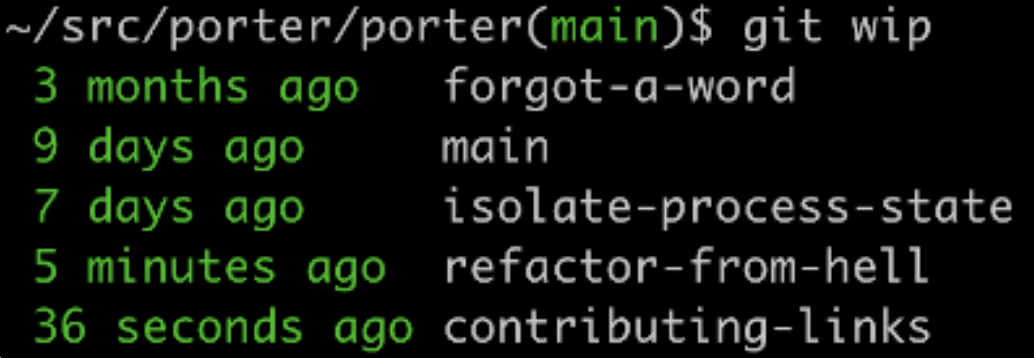 """output of """"git wip"""" command showing available branches with time to the last commit"""