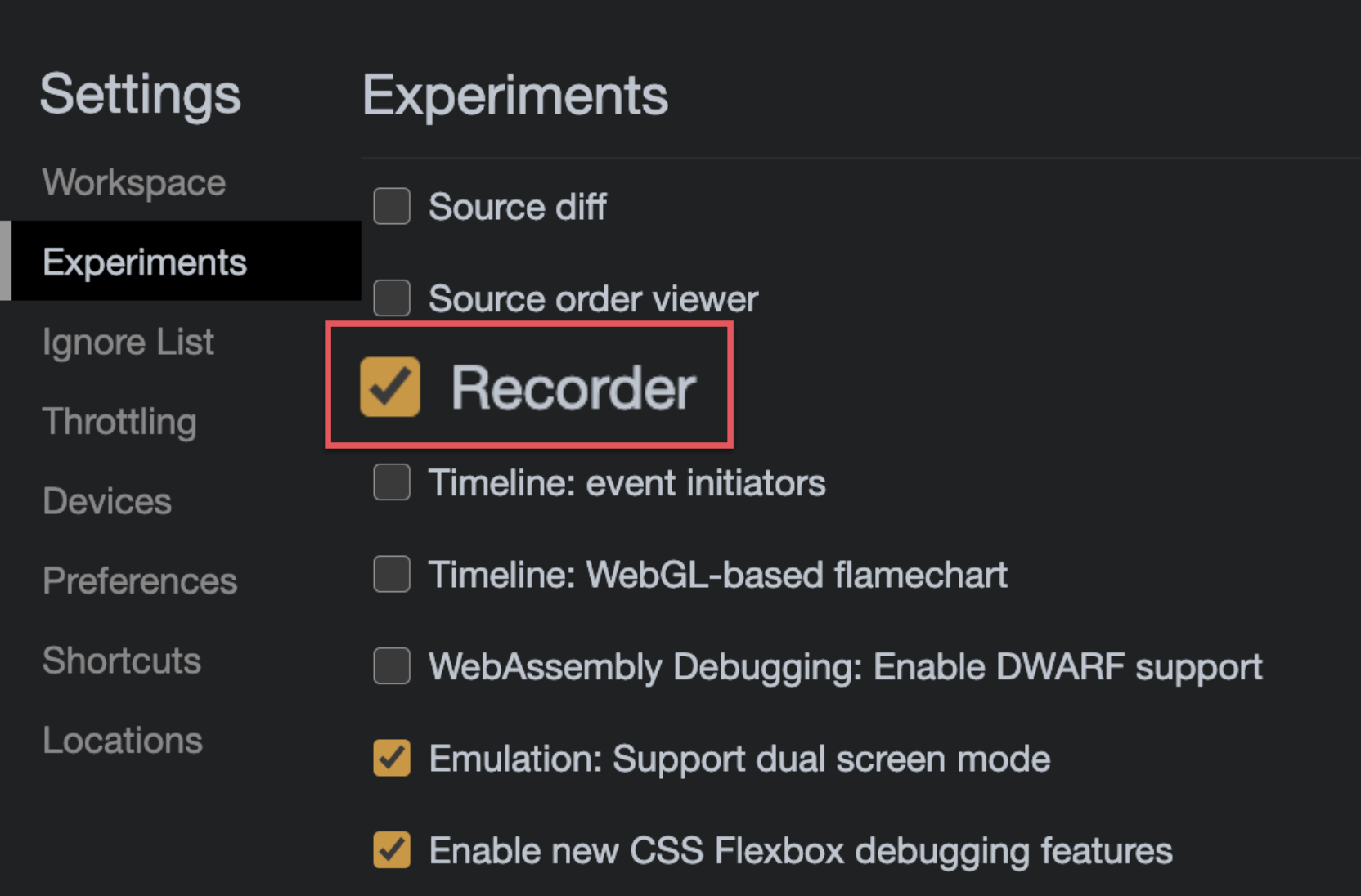 """Chrome DevTools settings highlighting the """"Recorder"""" experiments options"""