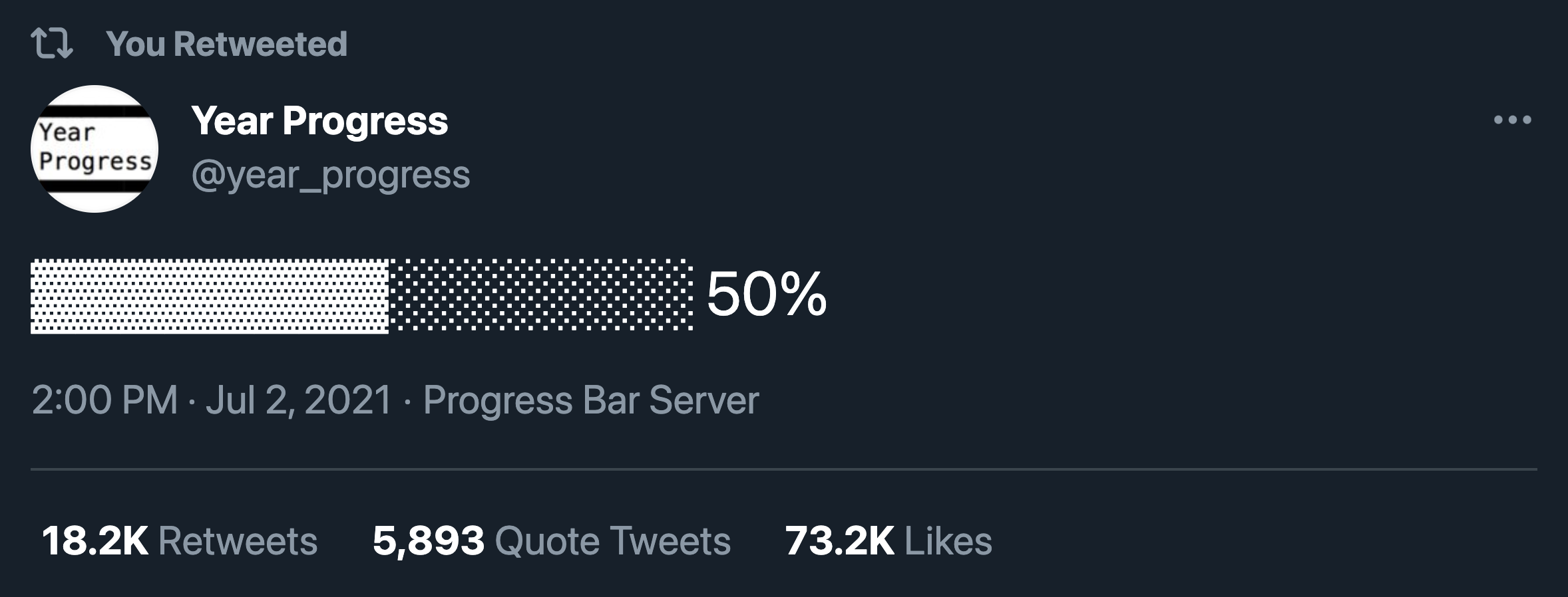 Tweet showing that the year is 50% done