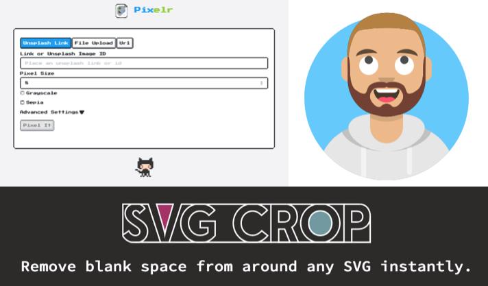 Three new tiny helpers: Pixelr, Avataaar and SVG Crop