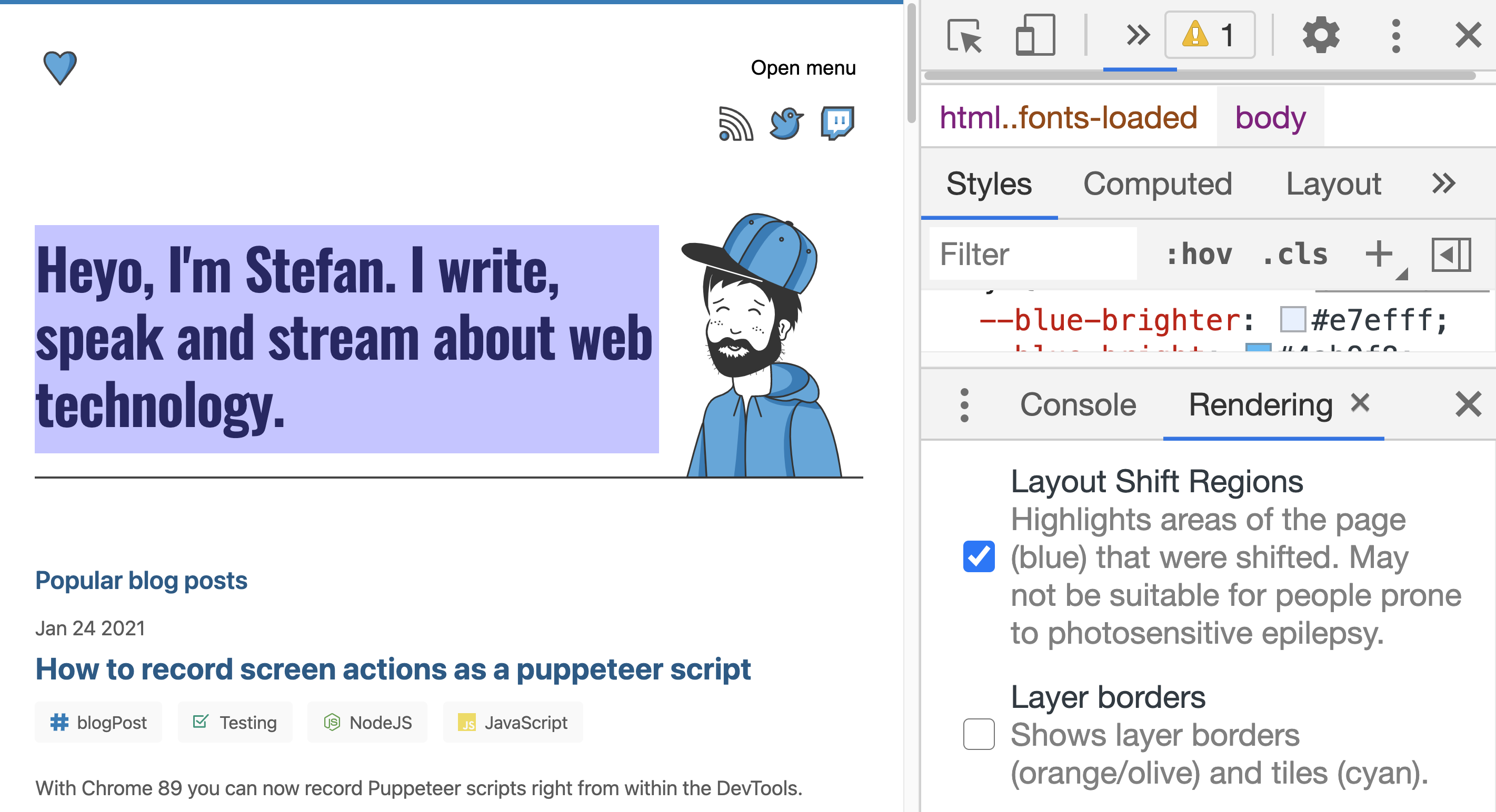 Visualised layout shifts in Chrome DevTools