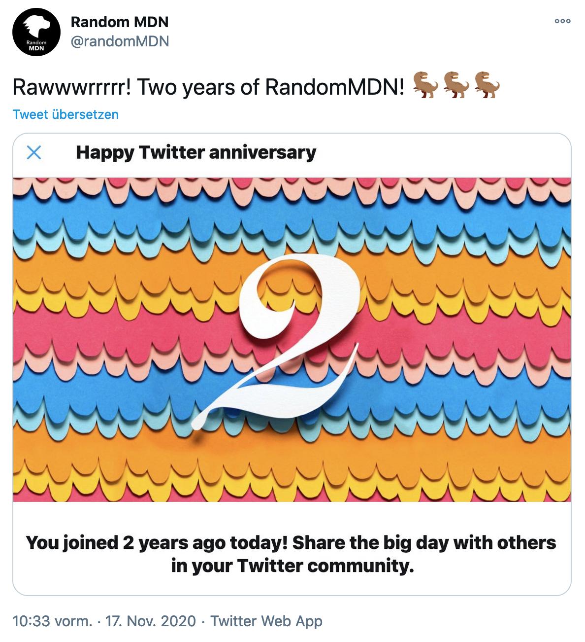 Tweet showing that @randommdn turned 2