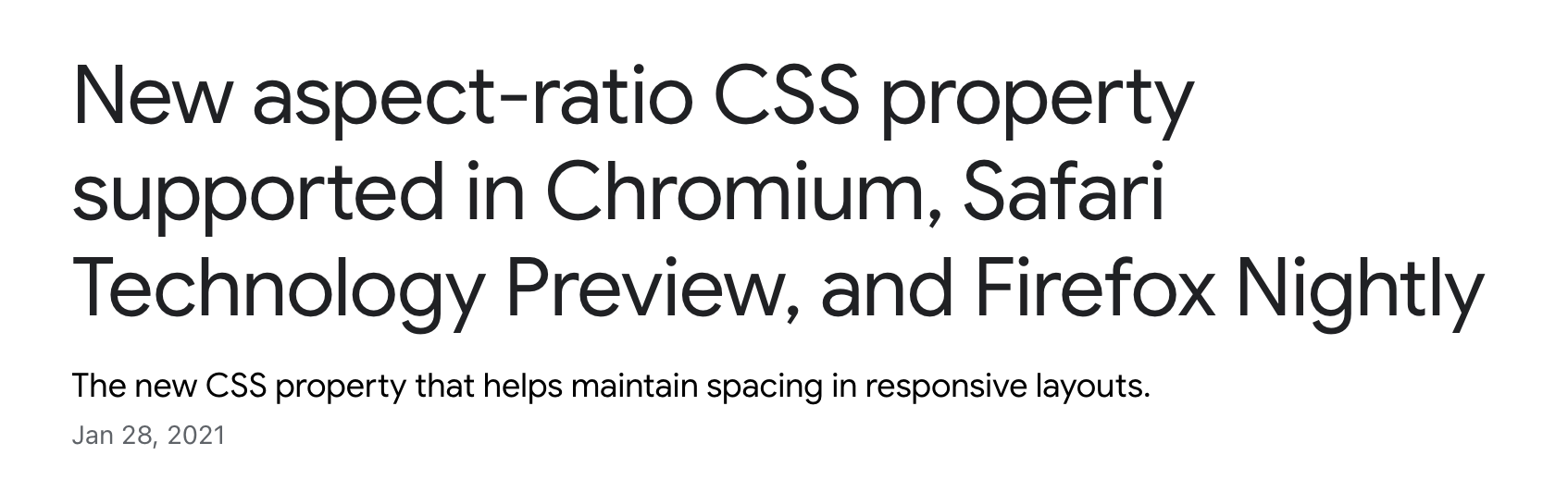 New aspect-ratio CSS property supported in Chromium, Safari Technology Preview, and Firefox Nightly