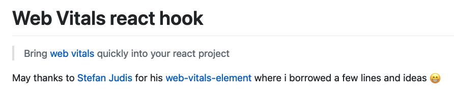 Web vitals react hook. Bring web vitals quickly into your react project
