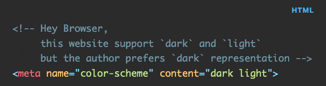 HTML code showing the usage of theme-color