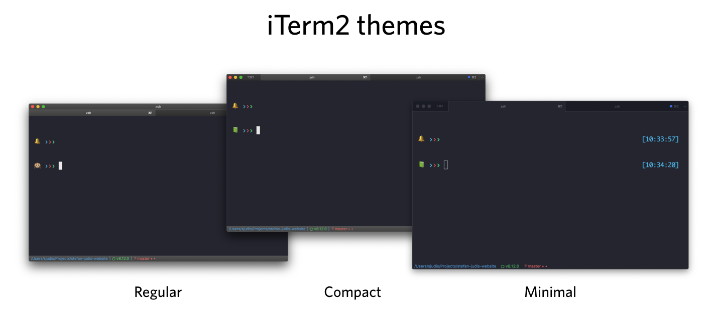 Different iTerm2 themes next to each other – regular, compact and minimal