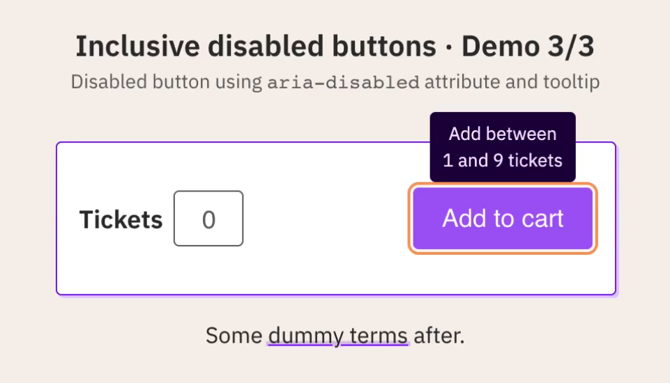 Example UI showing a disabled button with a tooltip explaining why things are not valid.
