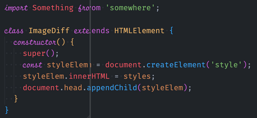 VS Code theme diff showing a theme with and without cursive characters.