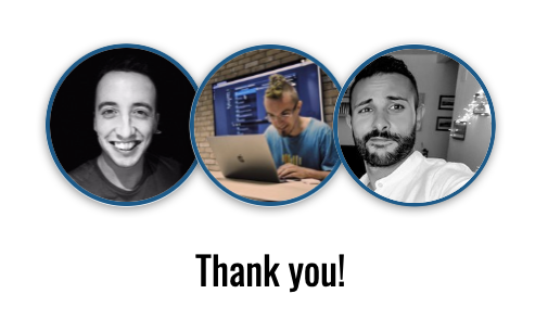 Three avatars with the word Thank you below