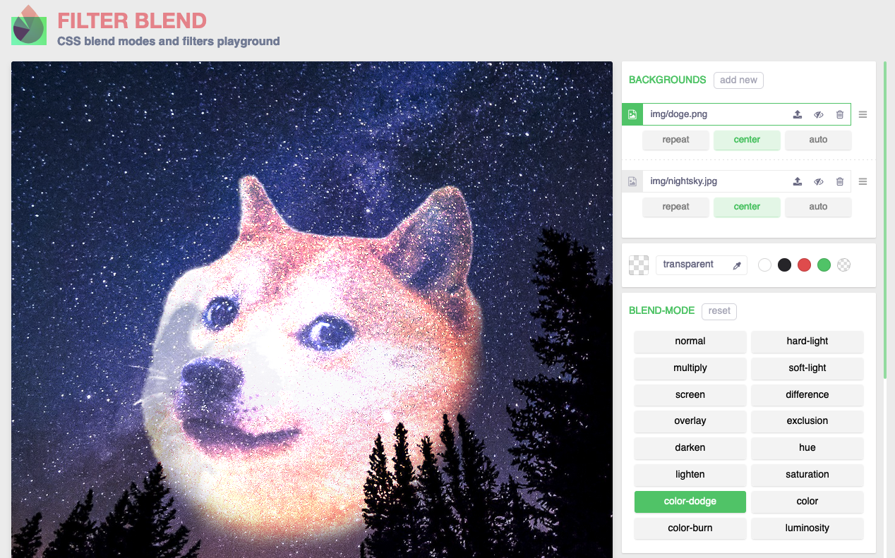 Screenshot of the Filter blend tool that allows you to play with CSS filters.